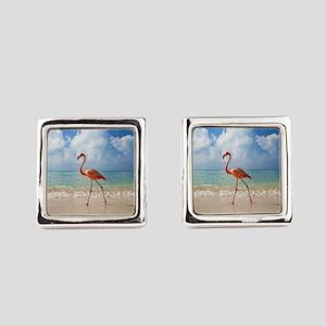 Flamingo On The Beach Square Cufflinks