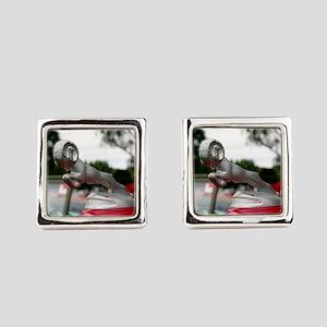 Ram old car hood ornament Square Cufflinks