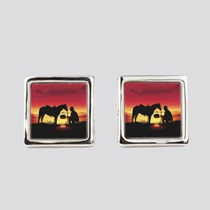 Cowboy and Horse at Sunset Square Cufflinks