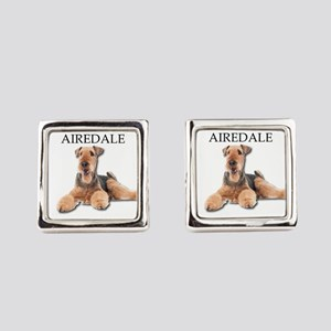 Lazy Airedale Terrier Laying Down Square Cufflinks