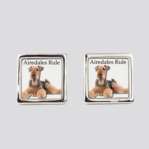 Airedales Rule Square Cufflinks