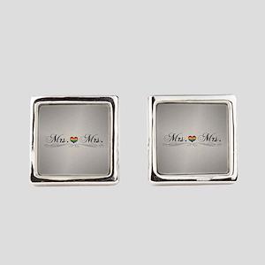 Mrs. & Mrs. Lesbian Design Square Cufflinks