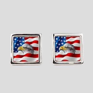 Bald Eagle On American Flag Square Cufflinks