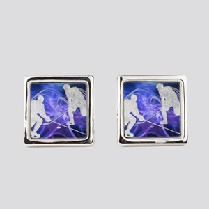 Ice Hockey Players Fighting for t Square Cufflinks