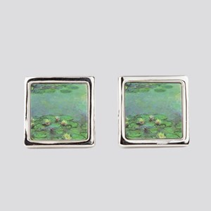 Waterlilies by Claude Monet Square Cufflinks