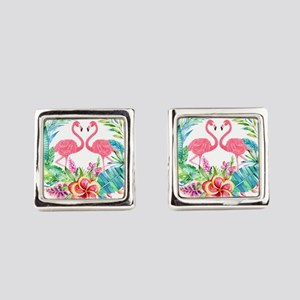 Flamingos With Colorful Tropical Square Cufflinks
