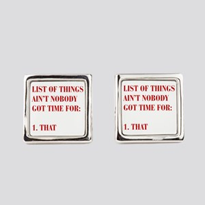 LIST-OF-THINGS-BOD-RED Square Cufflinks