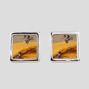 Motocross Riders Riding Sand Dunes Square Cufflink