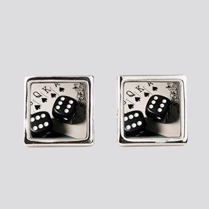 Cards And Dice Square Cufflinks