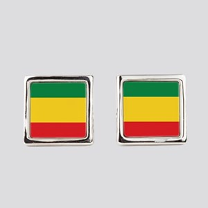 Green, Gold and Red Flag Square Cufflinks