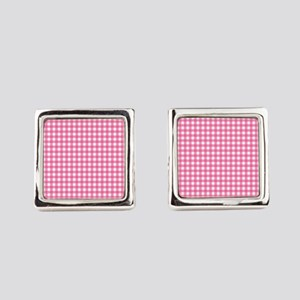 Pink Check Gingham Patterns Square Cufflinks