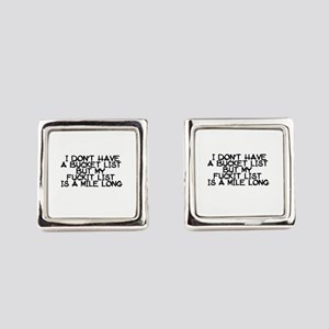 BUCKET LIST HUMOR Square Cufflinks
