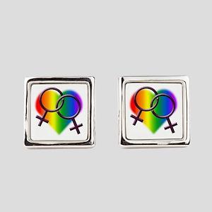 Rainbow Love Gay Pride Square Cufflinks