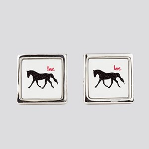 Horse with Hearts Square Cufflinks