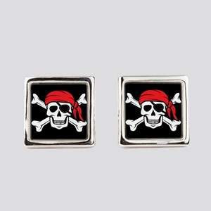 Jolly Roger Pirate (on Black) Square Cufflinks