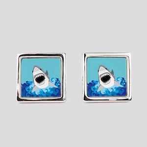 Shark Attack Square Cufflinks