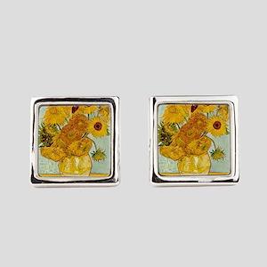 Vincent Van Gogh Sunflower Painti Square Cufflinks