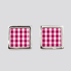 Simple White Pink Gingham Pattern Square Cufflinks