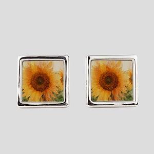 sunflowers Square Cufflinks