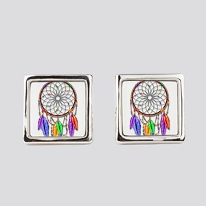 Dreamcatcher Rainbow Feathers Square Cufflinks
