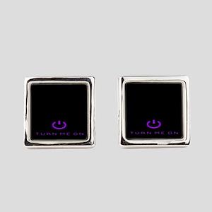 Turn Me On Purple Square Cufflinks