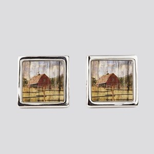 farm red barn wood texture Square Cufflinks