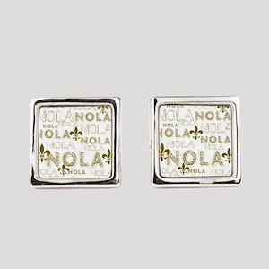NOLA NOLA NOLA Gold Fleur de Lis Square Cufflinks