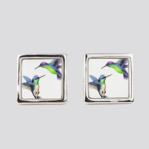 Pair of Metallic Green Blue and P Square Cufflinks