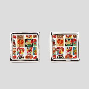 vintage valentines day cards feb Square Cufflinks