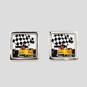 Yellow Race Car Square Cufflinks