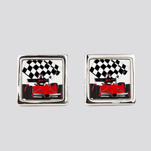 Red Race Car with Checkered Flag Square Cufflinks