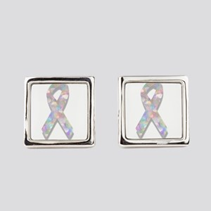 pearl lung cancer ribbon Square Cufflinks