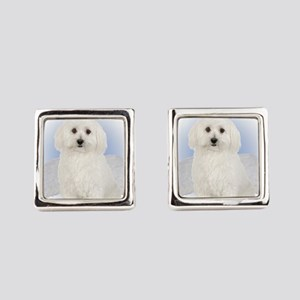 Angel Bichon Frise Square Cufflinks