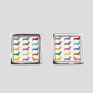 Colorful Dachshunds Square Cufflinks