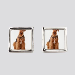Grumpy Airedale Saying NO Way Square Cufflinks
