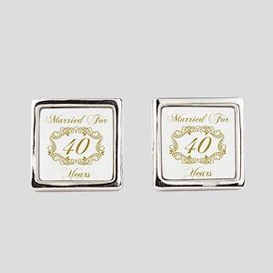 40th Wedding Anniversary Square Cufflinks