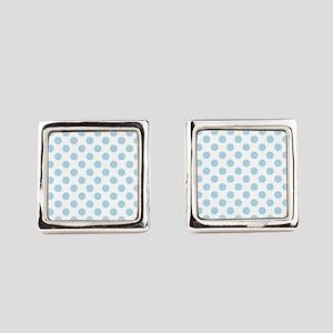 Light Blue Polka Dots Square Cufflinks