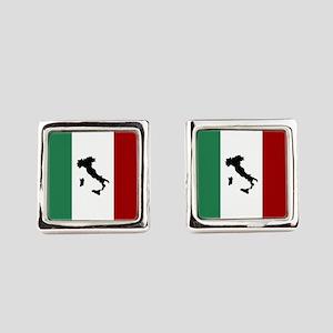 Italian Flag & Boot Square Cufflinks