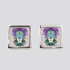 Triangle Colorful Lion Head Square Cufflinks