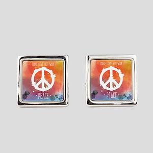 Peace Sign Square Cufflinks