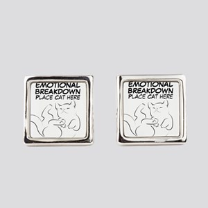 EMOTIONAL BREAKDOWN CAT Square Cufflinks