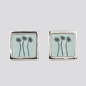 Watercolor White Anemone Square Cufflinks