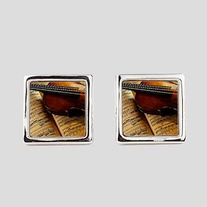 Violin On Music Sheet Square Cufflinks