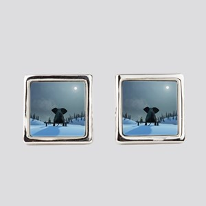 Dog and Elephant Friends Square Cufflinks
