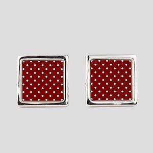 Red, Maroon: Polka Dots Pattern ( Square Cufflinks
