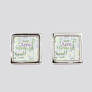 Anne of Green Gables Word Cloud Square Cufflinks