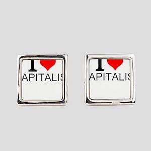 I Love Capitalism Square Cufflinks