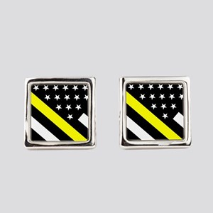 U.S. Flag: Thin Yellow Line Square Cufflinks