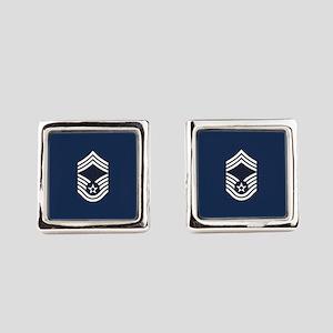 USAF: CMSgt E-9 (Blue) Square Cufflinks