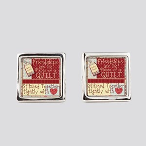 Friendships are Like Quilts Square Cufflinks